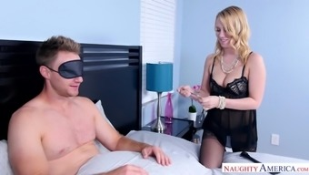 Mouth watering infant in stockings Bailey Brooke gives blowjob to her impaired collapsed and cuffed boyfriend