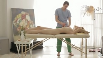 Karina Large gets her twat touched toward the massage therapy counter by her horny masseur
