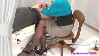 Female friend Handjob Kid In Pantyhose