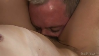 Malicious grannie by using slight entire body gets her fuzzy clit licked and touch fucked by gray haired bf
