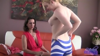 Nicki Blue lets a horny brunette beat her restricted pussy gap