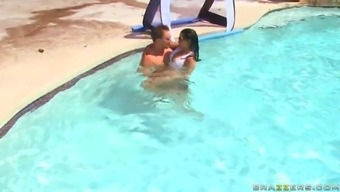 extraordinary girl abella anderson swimming with a man in the swimming pool and pointing out her boobs