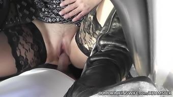 Car sex gangbangs with lively slutwife