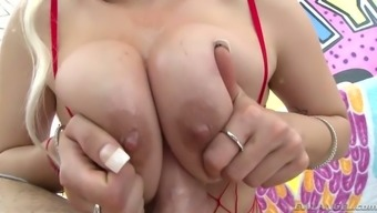 Kylie Site sucks her lover's cock wild hard and her titties are made for titjobs