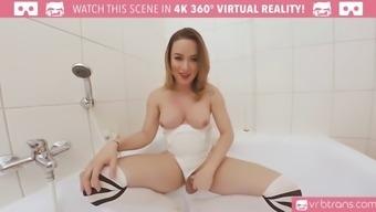 ts vr porn-big titties ts masturbating and booty join the bath
