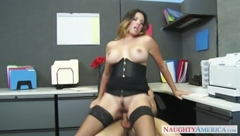 danica dillon wearing stockings and corset tours her supervisor at work