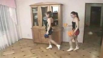 In german Lesbian Cheerleaders Training Routine