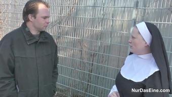 A language like german Little Man seduce Granny Nun to Fuck Him