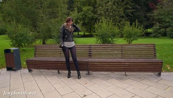 Jeny Smith pantyhose firing in public square. rising cost of living rear end and public boasting
