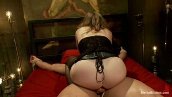 Surrounded Bloke Getting Crazily Spanked before Pegging by Girlfriend Handle your
