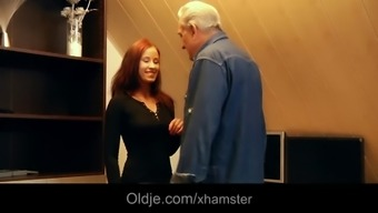 Noble grandpa gets sexual thanks from indebted redhead youngster