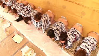 A natural environment Japanese real life exhibit with several heated, naked girls