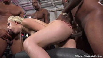 Crowd of sex starved black men value one wild flaxen moaner Jenna Pink by flip