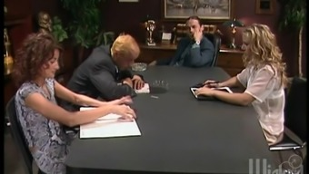 Attractive brunette's fucked silly by they in an office