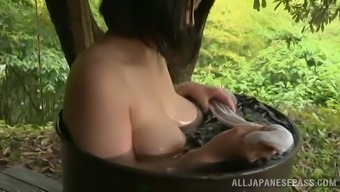 Adorable Japanese Dame Takes A Nice Tub Outdoor Inside a Lovely Account