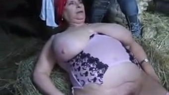 Conversational french BBW GRANNY OLGA FUCKED BY two(2) Guys IN THE Farmstead