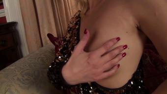 sparkly skirt finger nails suntan pantyhose milf