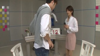 Excited Japanese newsgirl gets fucked by her co-workers at work