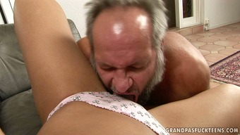 Lovely dark dame gets her pussy licked by panty one