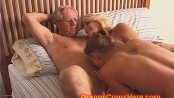 Granny and Grand father fuck Female descendant and Youngster