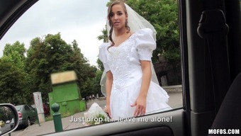 Cute Bride With A Shaved Pussy Loving A Intense Missionary Form Fuck Within the Motor vehicle
