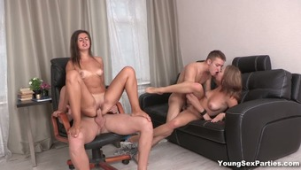 Two different young swinger spouses arrange over the edge group sex fun at home