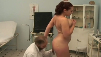 Big tits Swedish player slut fucks perverted old physician in his office