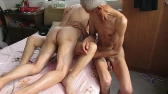 Far eastern Grandpa Trio by using age woman