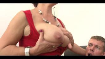 3 plus-size woman senior girl with vast titties fucks stud