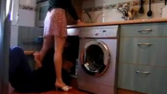 living alone housewife flashes plumbing technician