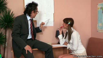 Charming blond school girl by using pigtails works to hook her tutor