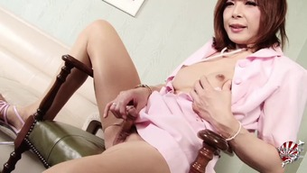 Tranny clinician tears launch her sheer pantyhose and gets hard