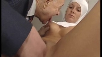 Hot Bodied Nun Gets Fondled By Tainted Old One !