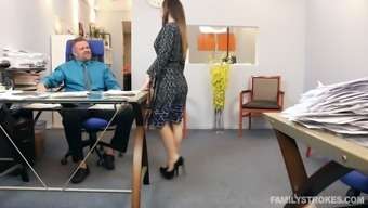 Perverted dominant stud poker asked that slutty raven haired girlie to really suck him off directly in the workplace