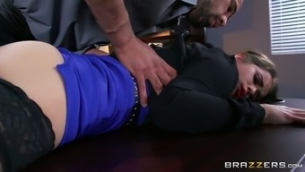 Perverted supervisor seduces young desk and gives her words job
