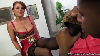Janet Mason take pleasure in feet fulfill in nylons with black stud poker