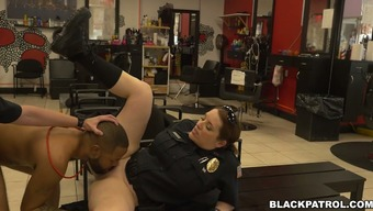 Thirsty for cock law enforcement officials fuck dark colored man by using major D