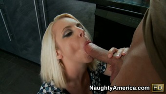 Dirty hooker Mandy Sweet gives a great blowjob and gets her pussy consume toward the kitchenette table