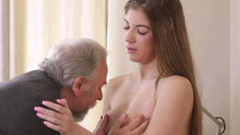 Immoral 86 years of age man licks pussy of his bonny blonde girlie stingily