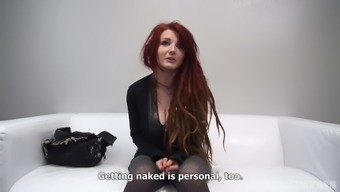 Redheaded along with dreads demonstrates her titties and stinks large penis