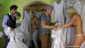 Remarkably naughty soon to be bride succumbs to extreme fucking with the dressing room on top of her marriage ceremony morning time