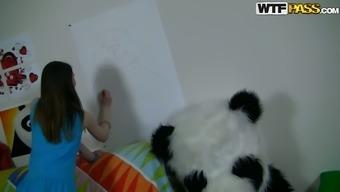 Wonderful teen chick Nicki is sketch panda beside her man in Panda dress