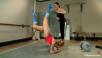 Blond cheerleader gets bonded and toyed in a wearing your clothes area