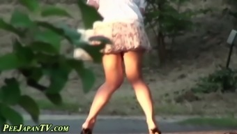 Adorable Asian slut in a attractive dress pees in public