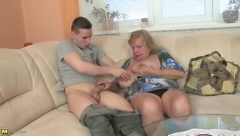 Old granny suck and fuck little boy's penis