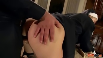 Horny nun in mordant stockings fucked via the priest