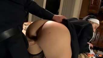 Horny nun in mordant stockings fucked via the priest