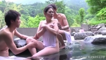 Succulent Japanese MILF Gets Exploded Challenging In A Threesome