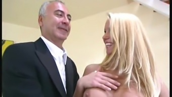 Old adult man along with a black missy from Budapest