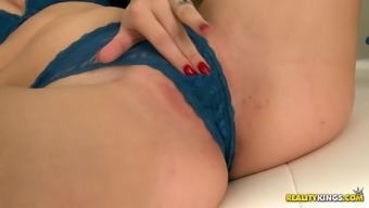 Ravishing dark damsel inside a horny bra gets her clipped pussy laid a hand thereafter drilled extreme util orgasm